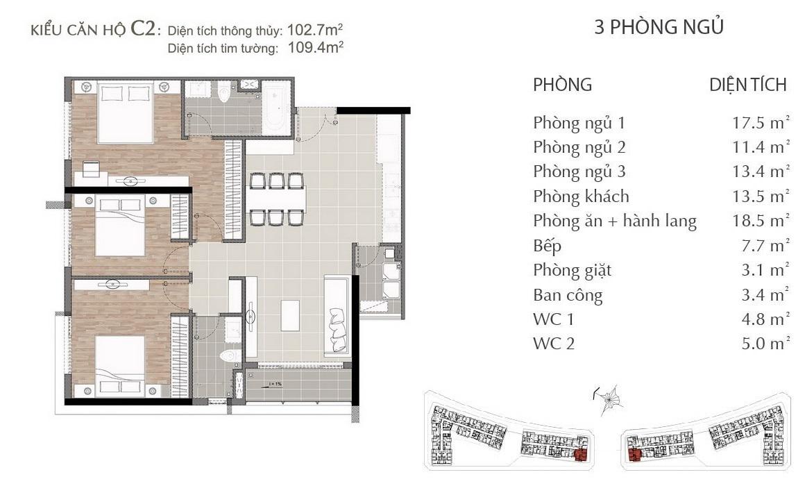 Thiết kế căn hộ C2 dự án SARIMI SALA