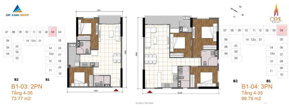 Thiết kế căn hộ dự án Opal Boulevard