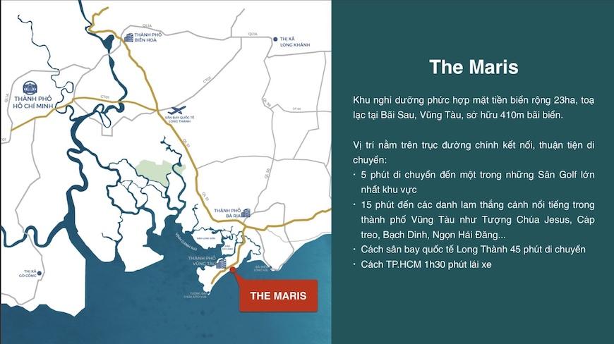Vị trí dự án The Maris Vũng Tàu khá thuận tiện và dễ dàng di chuyển về trung tâm thành phố biển Vũng Tàu