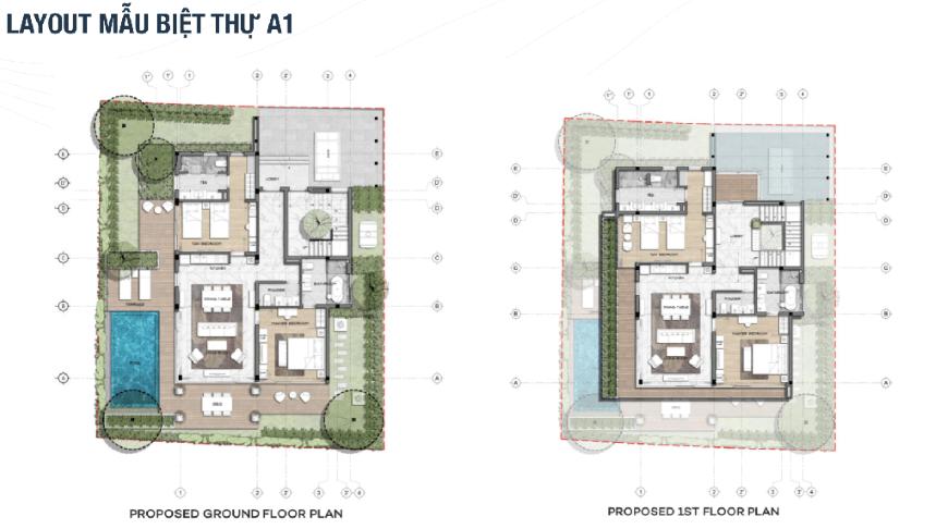 Mặt bằng chi tiết dự án The Maris Vũng Tàu - mẫu biệt thự A1