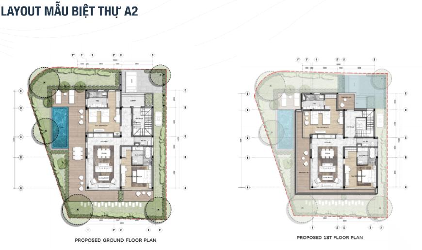 Mặt bằng chi tiết dự án The Maris Vũng Tàu - Mẫu biệt thự A2