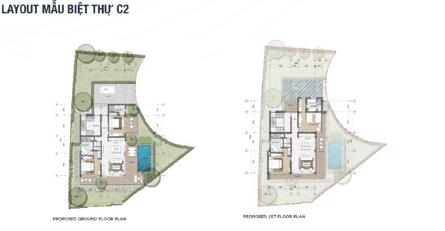 Mặt bằng chi tiết dự án The Maris Vũng Tàu - Mẫu biệt thự C2