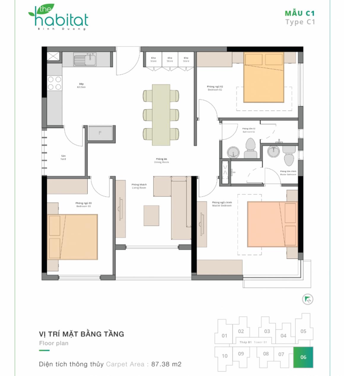 Thiết kế dự án The Habitat Mẫu C1