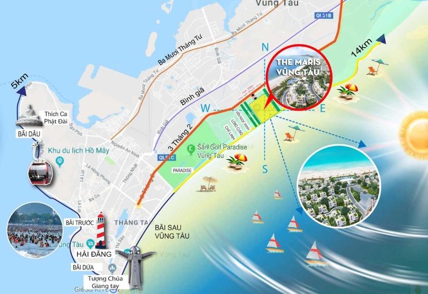 Vị trí địa chỉ dự án The Maris Vũng Tàu Condotel và Biệt Thự 1Vị trí địa chỉ dự án The Maris Vũng Tàu Condotel và Biệt Thự 1