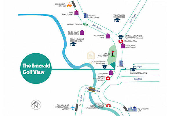 Vị trí địa chỉ dự án căn hộ chung cư The Emerald Golf View Thuận An