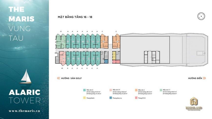 Mặt bằng tầng 16-18 căn hộ condotel The Maris Vũng Tàu
