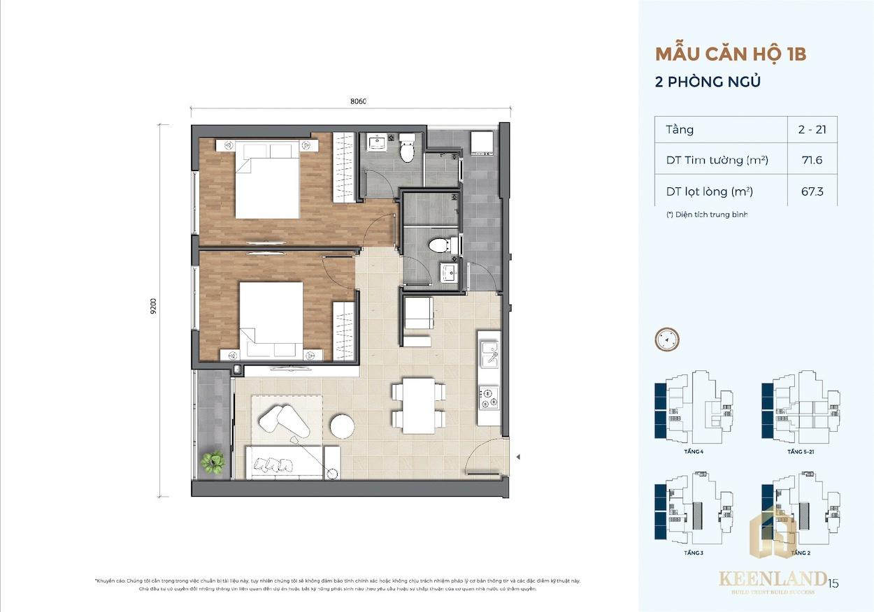 Thiết kế căn hộ 2 Phòng ngủ dự án Precia Quận 2