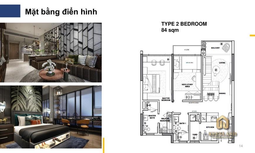 Nhà mẫu The River Thủ Thiêm quận 2 - căn hộ 2 phòng ngủ