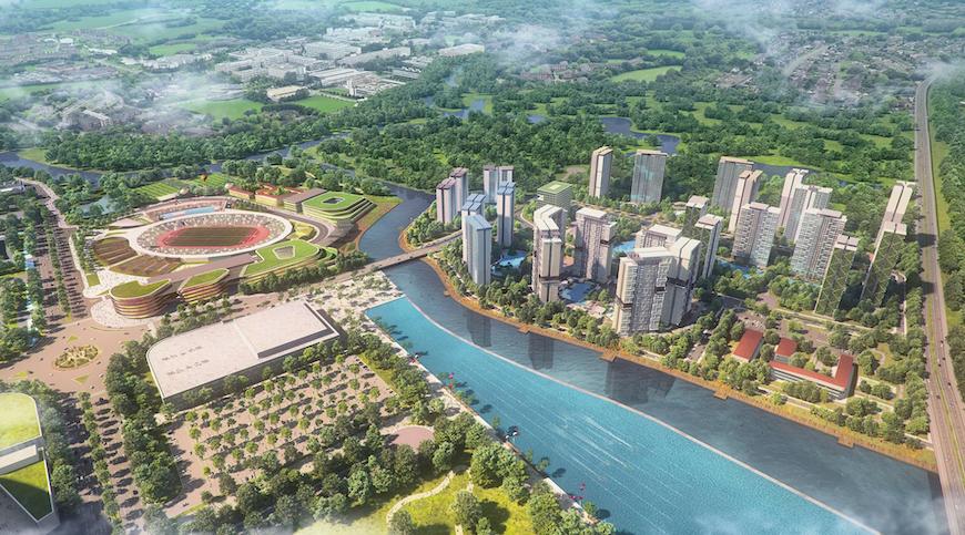 Tổng thể khu liên hiệp thể thao quốc gia Bắc Rạch Chiết liền kề vị trí dự án căn hộ Precia Quận 2