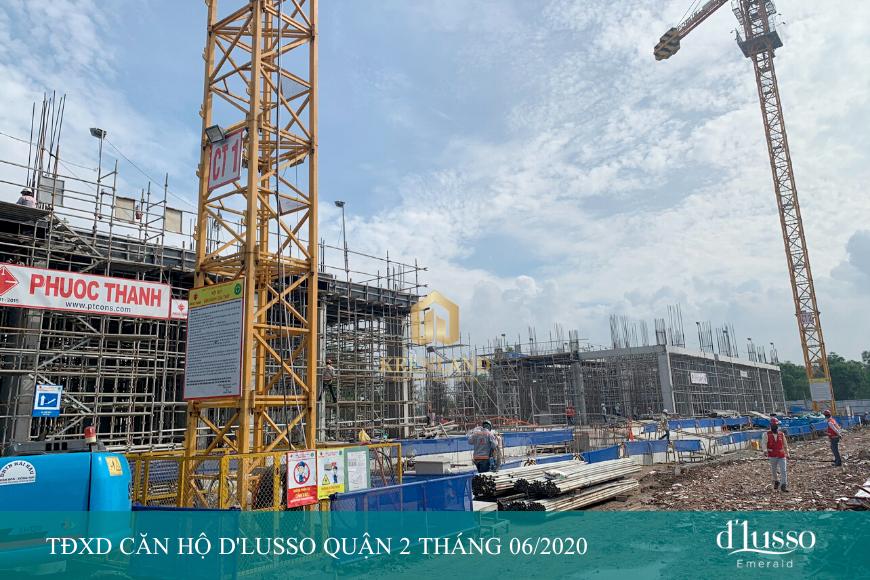 tiến độ xây dựng căn hộ D'lusso Quận 2 cập nhật tháng 06 năm 2020 từ Chủ đầu tư Minh Thông