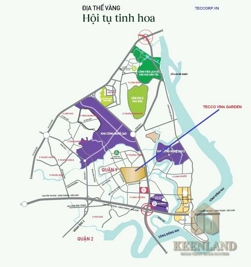 Vị trí địa chỉ chung cư Tecco Vina Garden Quận 9 Đường Đông Tăng Long chủ đầu tư Tập đoàn Tecco