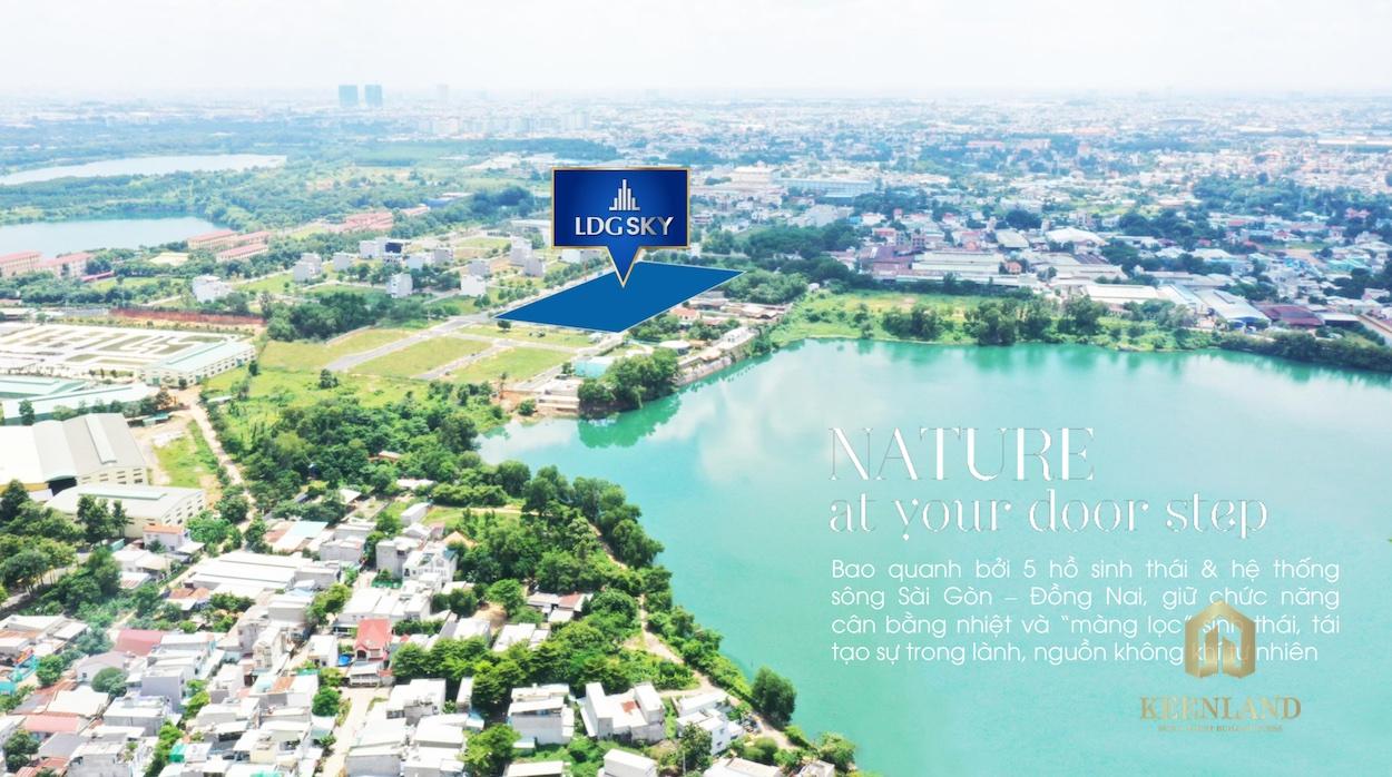 Chung cư LDG Sky sở hữu vị trí ngay liền kề Hồ Bình An, một trong những hồ yên bình và đẹp nhất tại Bình Dương