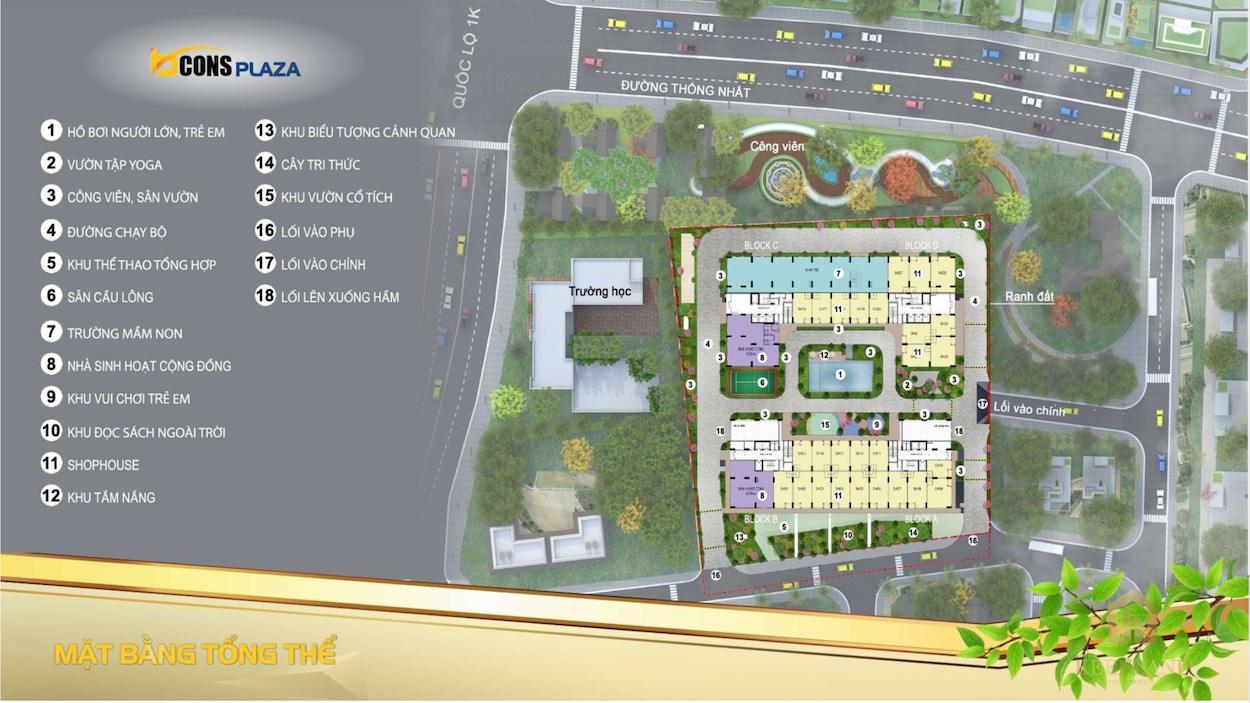 Mặt bằng tổng thể dự án căn hộ Bcons Plaza Bình Dương