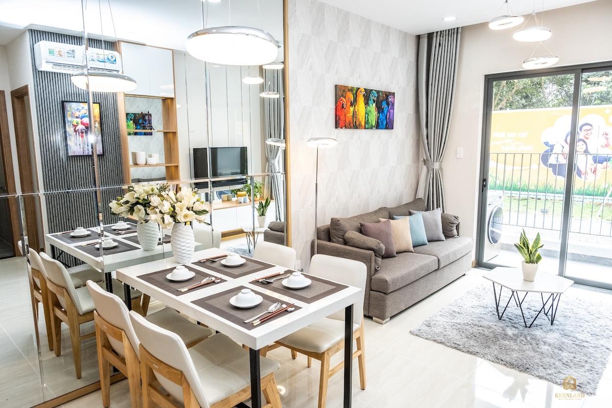 Phòng khách nhà mẫu căn hộ Bcons Plaza Bình Dương