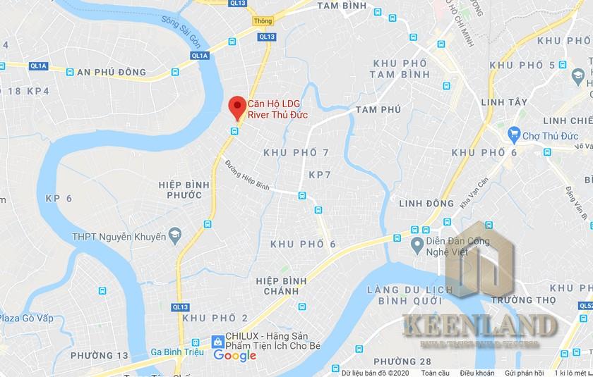 Vị trí địa chỉ LDG River đường 623 OL13 quận Thủ Đức chủ đầu tư LDG Group