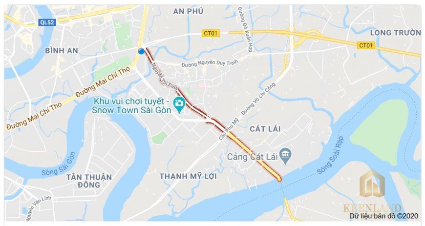 Vị trí đường Nguyễn Thị Định Quận 2 trên google maps