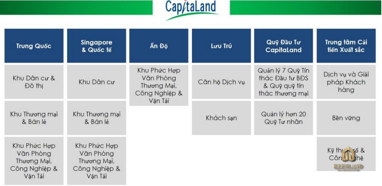 Thông tin các lĩnh vực trên thế giới của CapitaLand