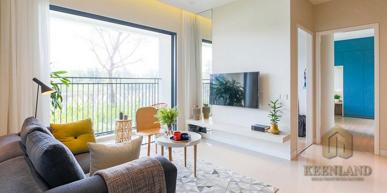 Phòng khách nhà mẫu dự án căn hộ chung cư Palm Heights Quận 2