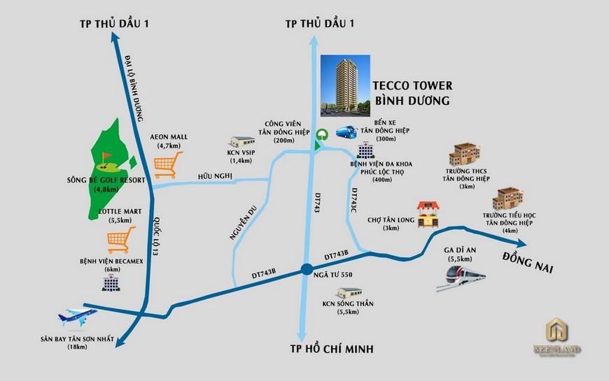 Địa chỉ dự án căn hộ Tecco Tower Dĩ An