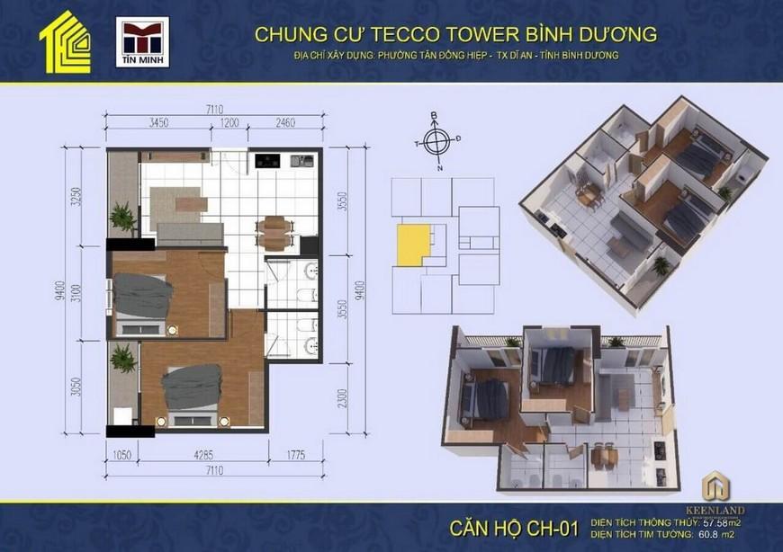 Mặt bằng thiết kế dự án căn hộ Tecco Tower