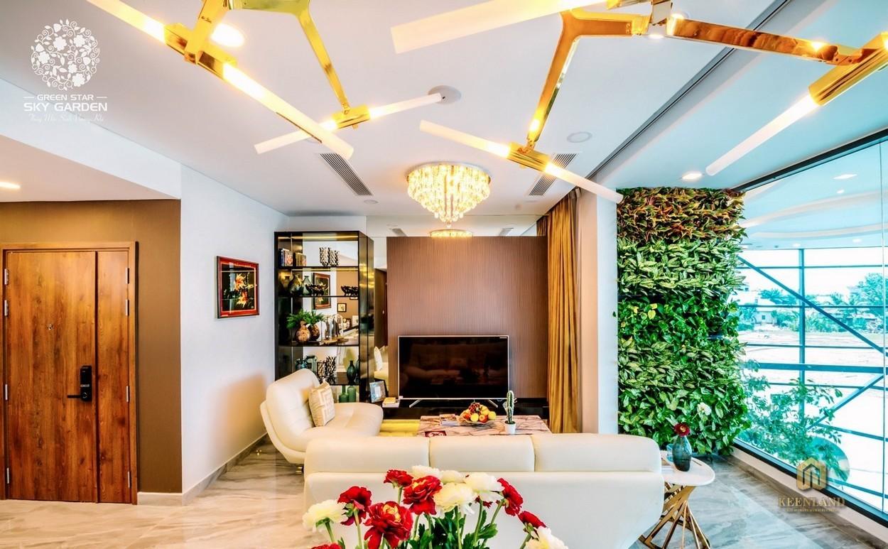 Nhà mẫu dự án Green Star Sky Garden 3PN với phòng khách sang trọng