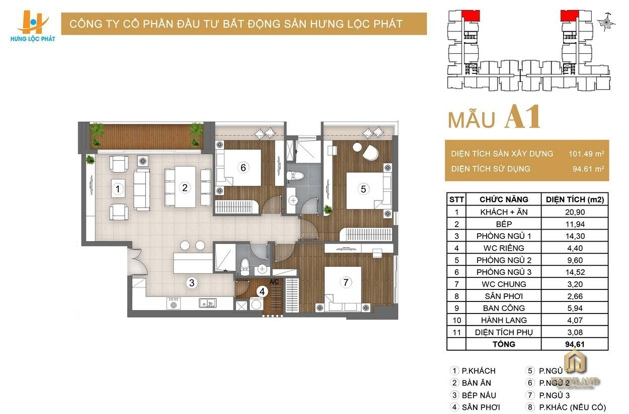Thiết kế căn hộ Green Star Sky Garden - A1 - 94.61m2