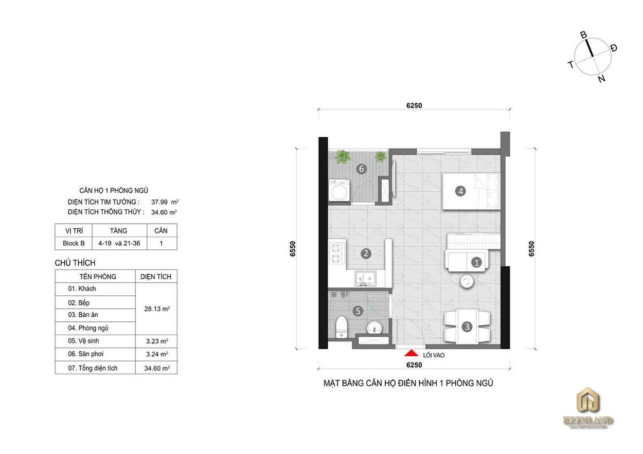 Thiết kế căn hộ Opal Cityview 1PN