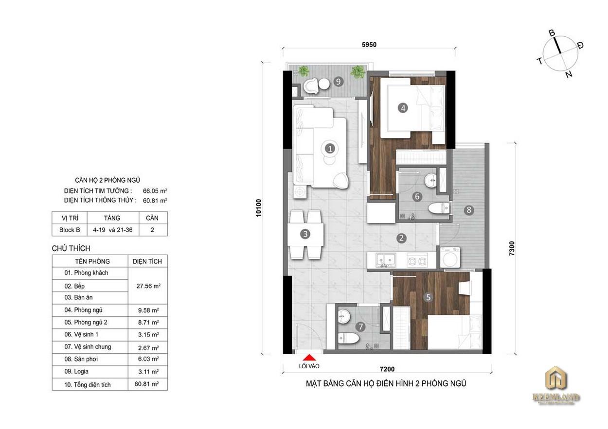 Thiết kế căn hộ Opal Cityview 2PN
