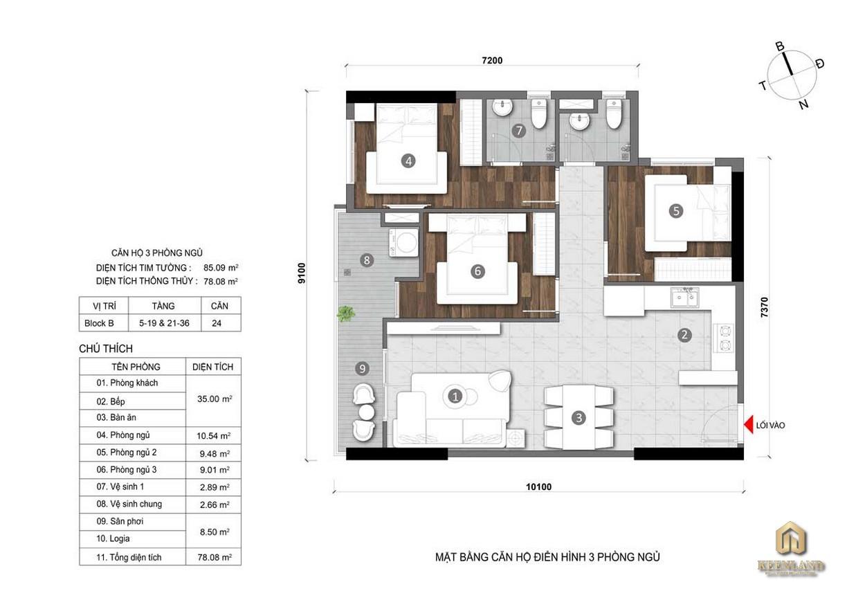 Thiết kế căn hộ Opal Cityview 3PN