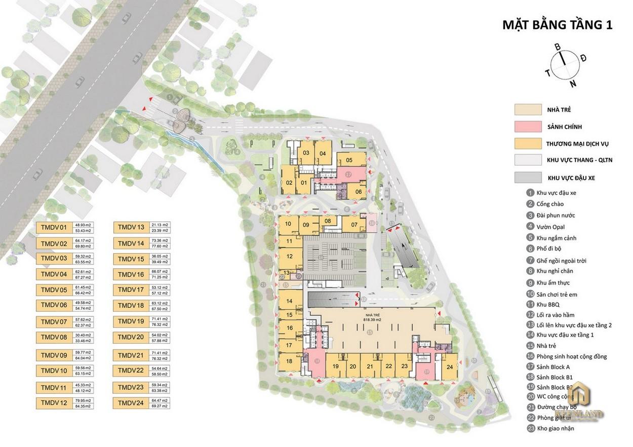 Mặt bằng tiện ích dự án căn hộ Opal Cityview Bình Dương chủ đầu tư Đất Xanh