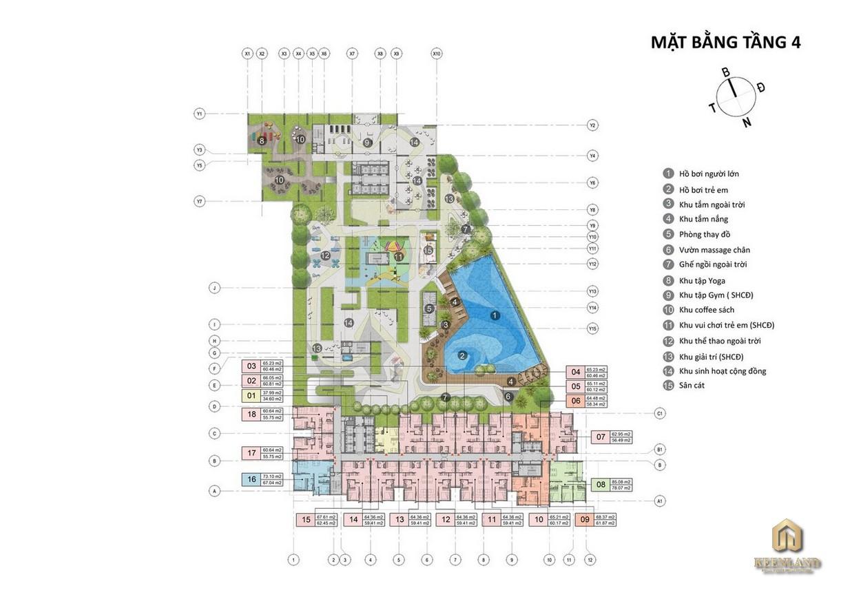 Mặt bằng tầng 4 dự án Opal Cityview Thủ Dầu Một