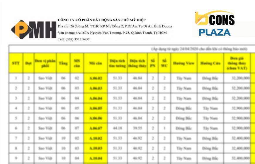 Bảng giá bán căn hộ Bcons Plaza Bình Dương