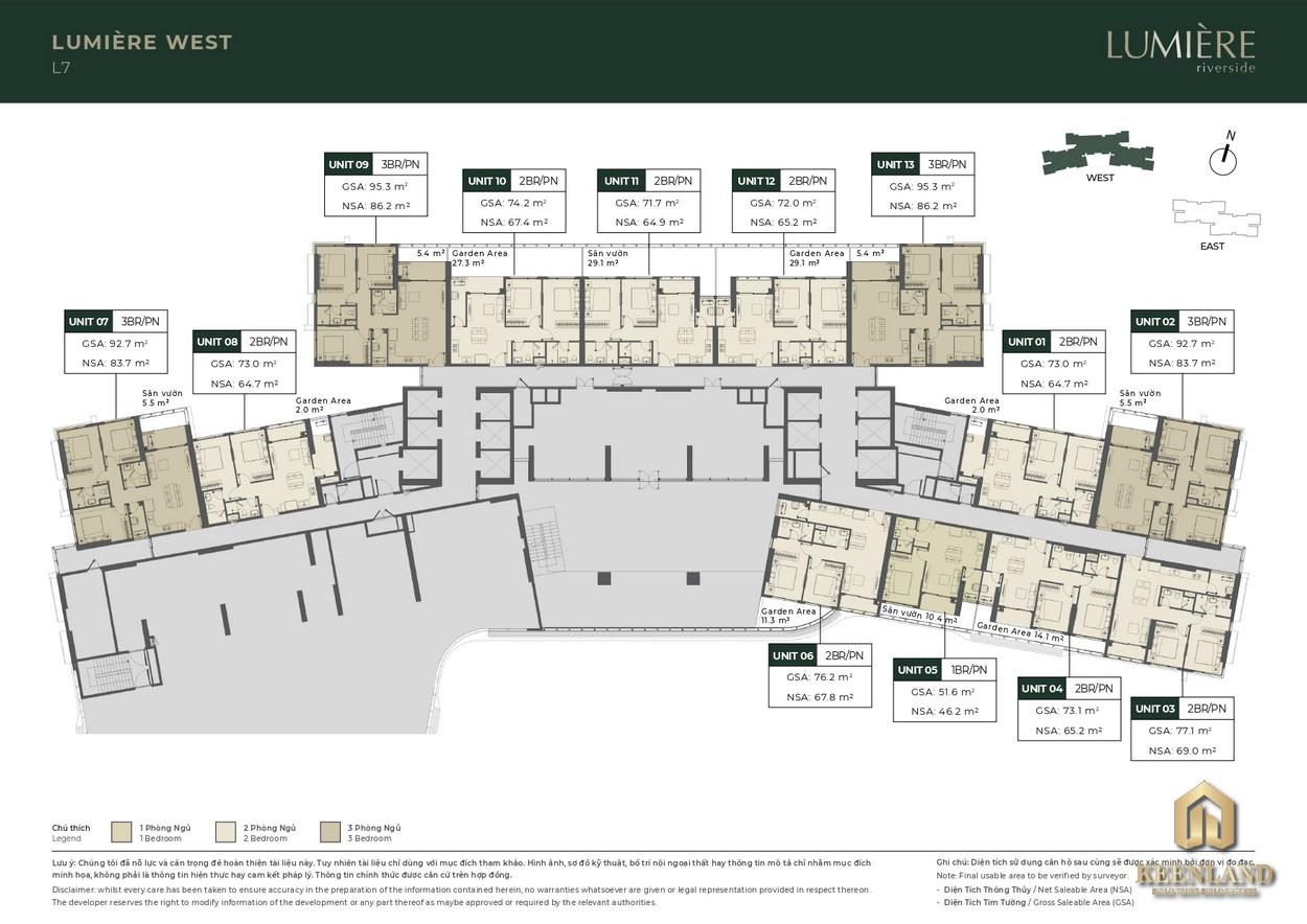 Mặt bằng tầng điển hình dự án căn hộ Masterise Lumiere Riverside West Quận 2
