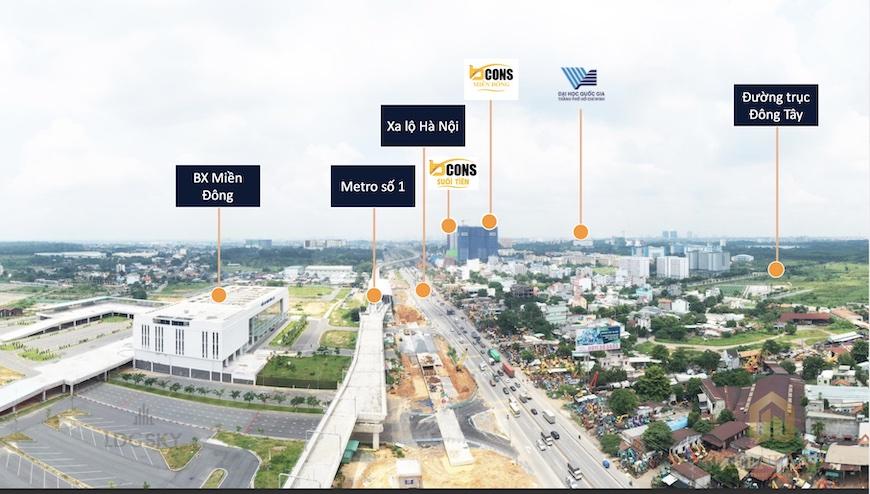 Kết nối từ làng đại học Quốc Gia Thủ Đức về trung tâm thành phố cực kỳ thuận tiện với các cơ sở hạ tầng hoàn thiện
