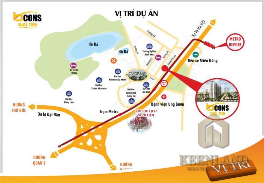 Vị trí địa chỉ dự án căn hộ Bcons Suối Tiên Dĩ An Đường Tân Lập chủ đầu tư Bcons