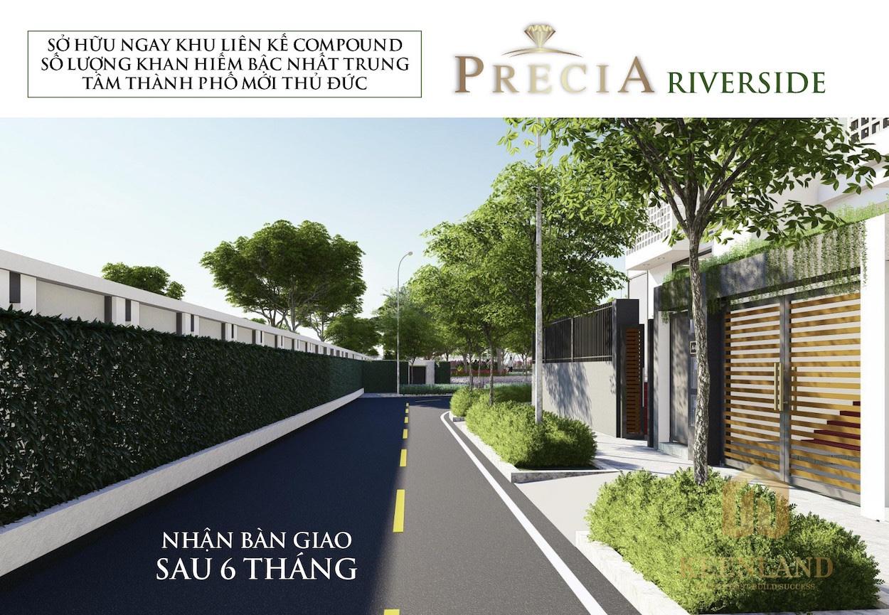 Không gian sống xanh là chủ đạo cho dự án nhà phố Precia Riverside Quận 2