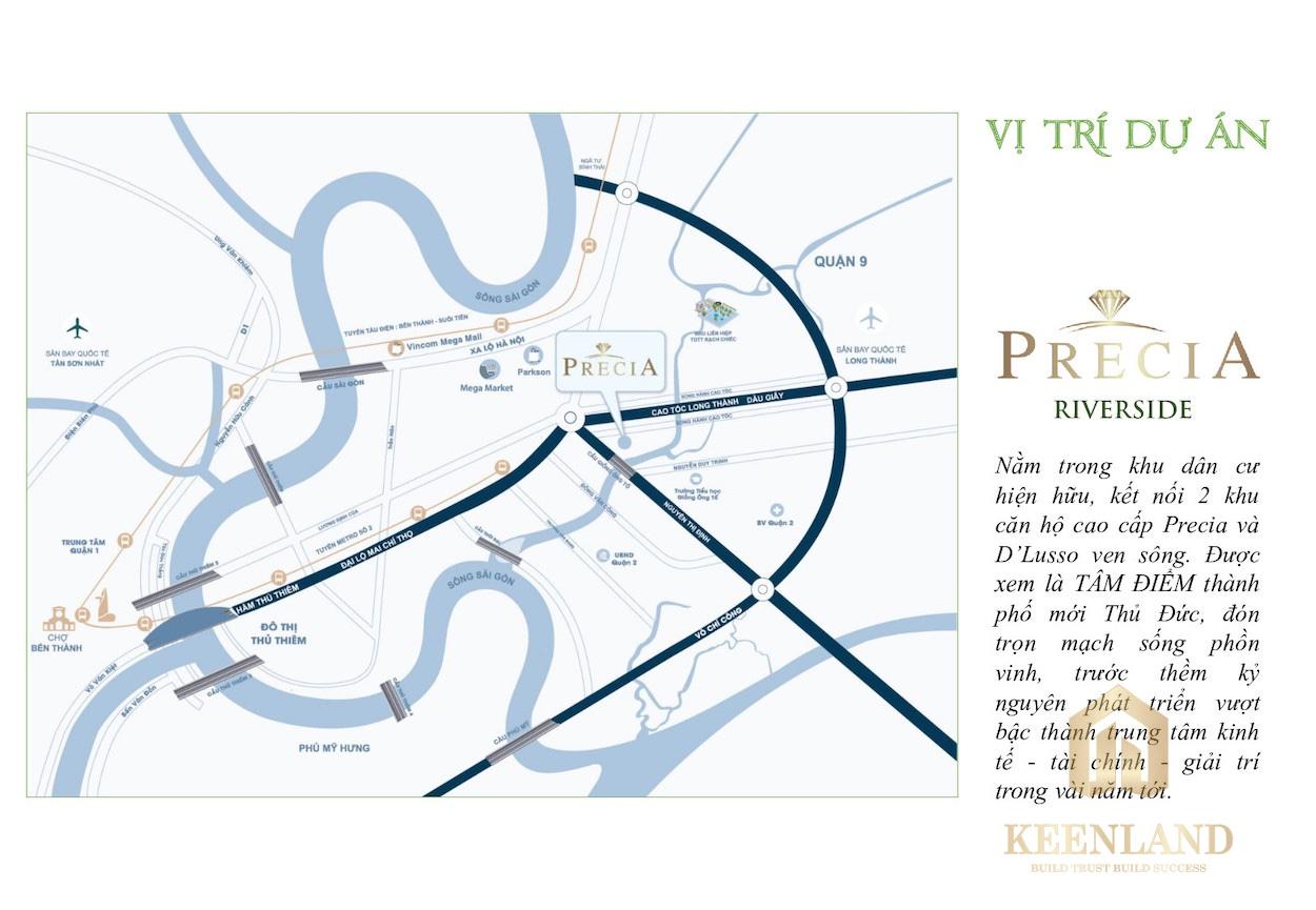 Vị trí nhà phố Precia Riverside Quận 2