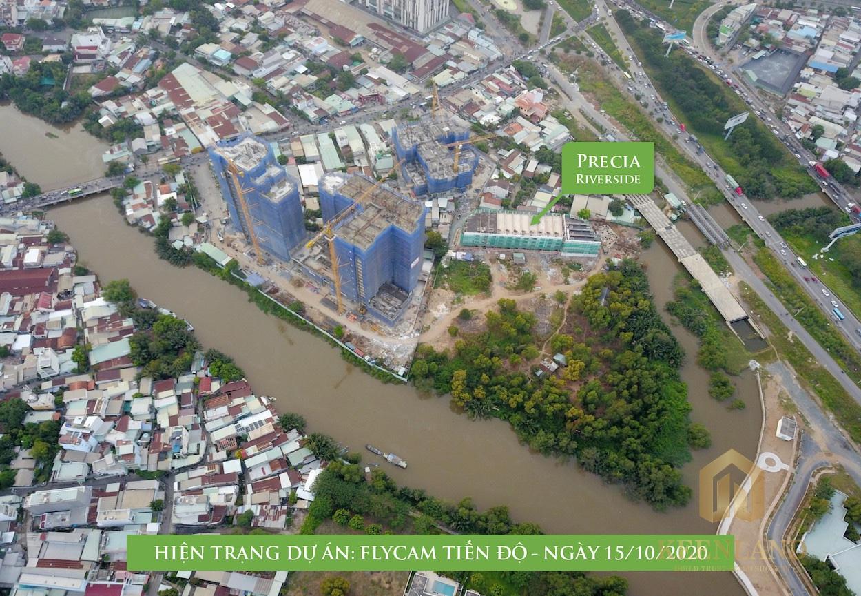 Thực tế mặt bằng nhà phố Precia Riverside chụp từ Flycam mới nhất
