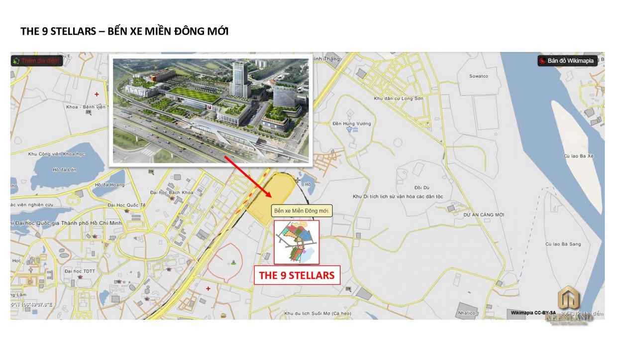 Bến xe miền Đông mới hình thành ngay cạnh The 9 Stellars