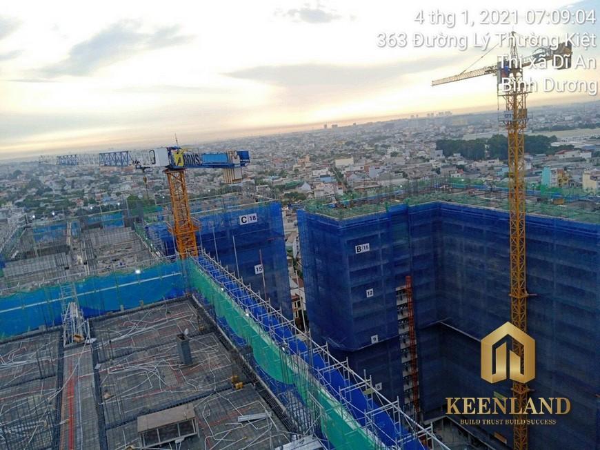 Tiến độ xây dựng căn hộ Bcons Garden tháng 1