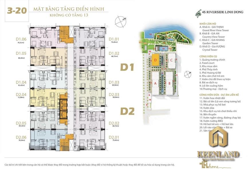Mặt bằng và thiết kế 4S Riverside Linh Đông