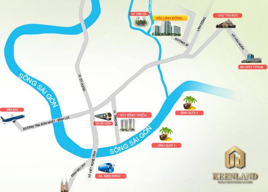 Vị trí dự án 4S Riverside Linh Đông
