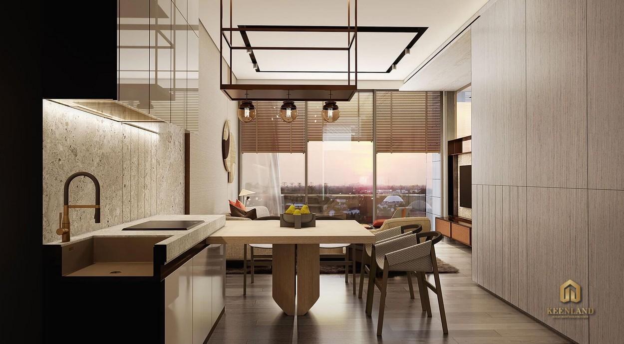 Phòng bếp ấm cúng - Nhà mẫu dự án Grand Marina