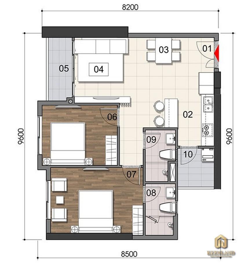 Thiết kế căn hộ 2PN Gem Riverside