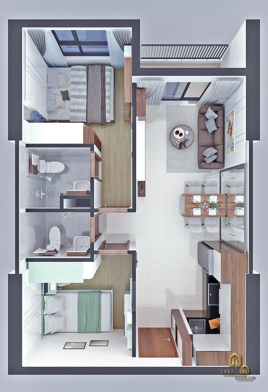 Thiết kế 3D - Mặt bằng và thiết kế căn hộ Bcons Sala