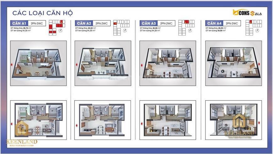 Thiết kế căn hộ A1-A4 - Mặt bằng và thiết kế căn hộ Bcons Sala