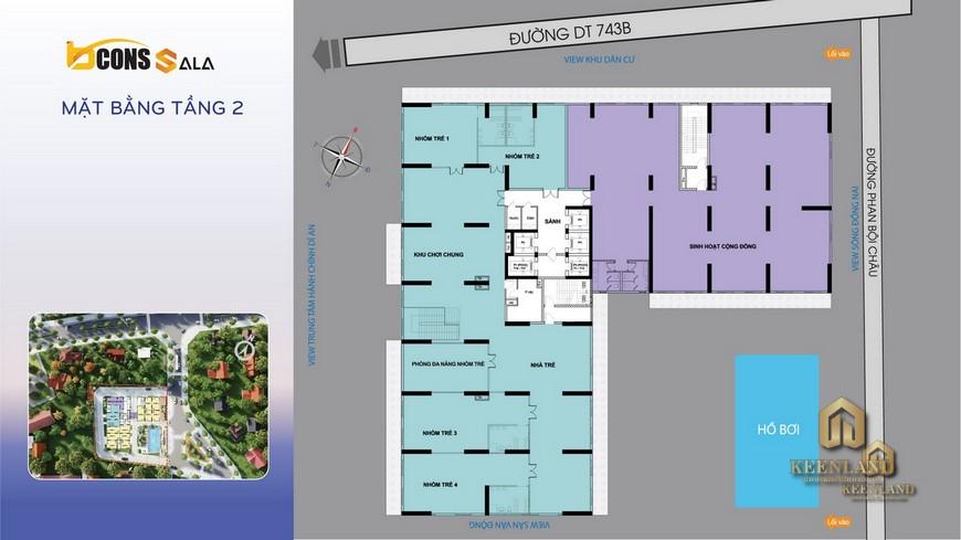 Mặt bằng và thiết kế căn hộ Bcons Sala tầng 2