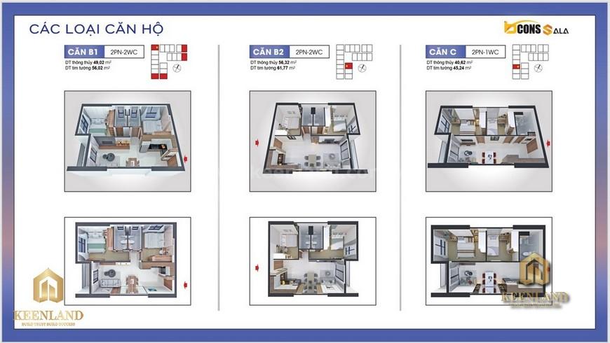 Thiết kế căn hộ B1-B2-C - Mặt bằng và thiết kế căn hộ Bcons Sala