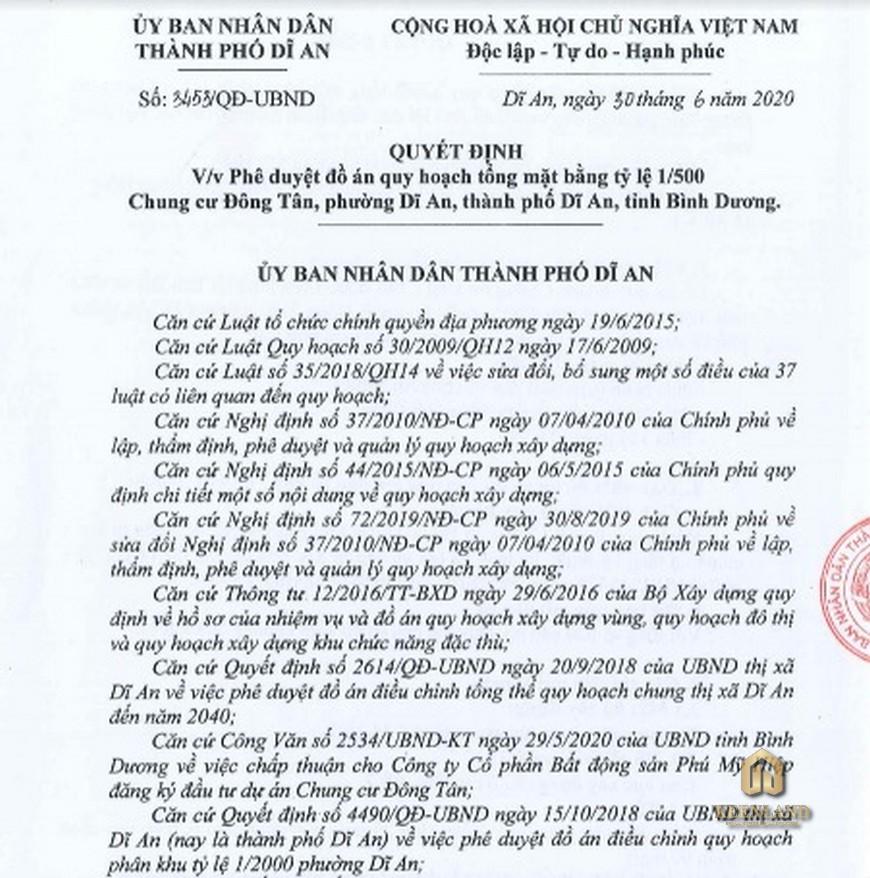 Pháp lý dự án căn hộ Bcons Sala Bình Dương - Quy hoạch 1/500
