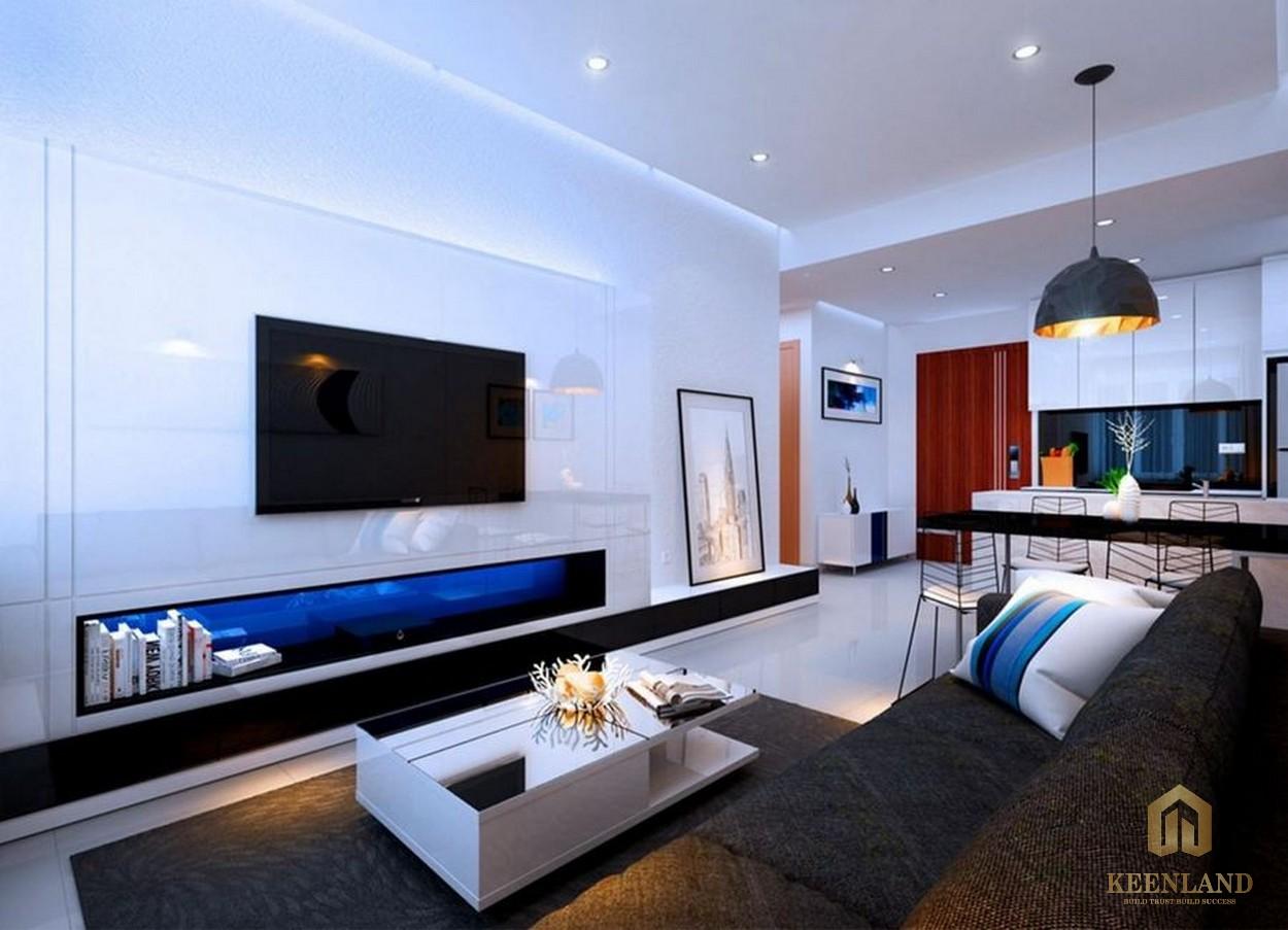 Phòng khách nhà mẫu căn hộ River Gate Residence